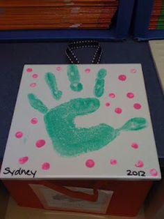 Handprint on ceramic tile