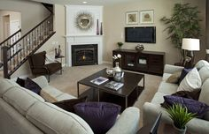 Furniture Placement Around Corner Fireplace. Find ideas and inspiration for Furniture Placement Around Corner Fireplace to add to your own home. Living Room With Fireplace, My Living Room, Basement Fireplace, Fireplace Ideas, Fireplace Design, Fireplace Pictures, Fireplace Stone, Fireplace Mantel, Small Living