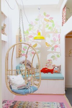 Hanging chair in kid's room Decor Envy | Houzz via Avenue Lifestyle