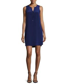 AMANDA UPRICHARD MICHAELA LACE-UP SILK SHIFT DRESS, NAVY. #amandauprichard #cloth #flats
