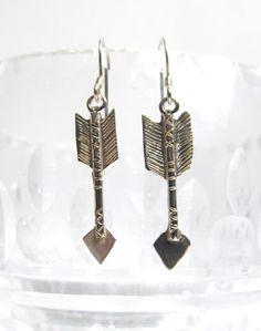 Vintage Navajo Native American southwestern sterling silver arrow earrings,dangle earrings, hanging earrings, arrow jewellery by EbyVintage on Etsy