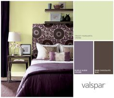 Mixed colors, prints and jewels add life bring this bedroom to life.