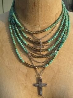 Turquoise Gypsy Necklace Strands of turquoise beads, punctuated by amber crystals and nickel finished crosses. by ibshrn Tribal Jewelry, Boho Jewelry, Beaded Jewelry, Vintage Jewelry, Jewelry Accessories, Handmade Jewelry, Jewelry Necklaces, Beaded Necklace, Jewelry Design