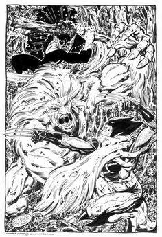 Wolverine & Nightcrawler Vs Wendigo commission by John Byrne. 2014.