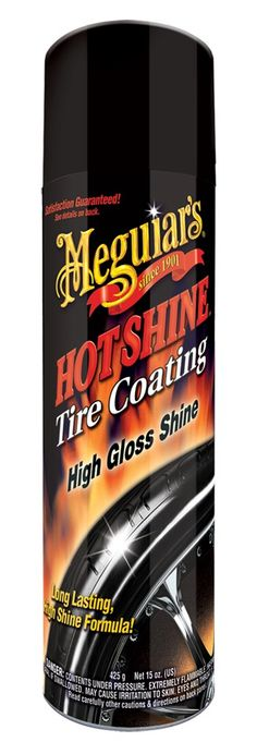 Meguiars Hot Shine™ High Gloss Tire Coating formula gives your tires a wet-look with a dark shine.