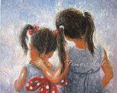 Sister Love Art Print, two sisters childrens wall art two girls bedroom decor loving sisters art, kids decor, Vickie Wade art