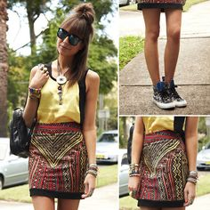Yellow Aztec and Mesh (by Annabel Wendt) http://lookbook.nu/look/3276923-Yellow-Aztec-and-Mesh
