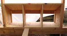 Install the nest box dividers from inside the chicken coop. Chicken Coop Designs, Chicken Coop Kit, Chicken Boxes, Chicken Nesting Boxes, Chicken Pen, Building A Chicken Coop, Rabbit Nesting Box, Diy Exterior, Hobby Farms