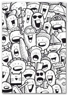 Kaart Happies at the beach Blij op the beach net zoals de happies Easy Doodles Drawings, Cute Food Drawings, Mini Drawings, Simple Doodles, Cool Art Drawings, Doodle Canvas, Doodle Monster, Graffiti Doodles, Doodle Art Journals