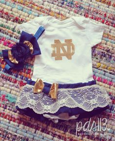 Baby Girl Football University Theme Onesie Dress by pdstudiosstore. , via Etsy.