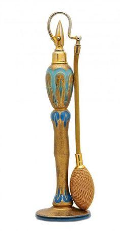 c1920 French Art Deco blue opaline crystal atomizer
