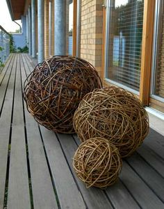 Lizzie Farey, Three Willow Spheres,  2002, 20,40,60cm diameter (see video pin to see how these are made)