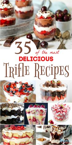 Yummy desserts that will wow your guests are easy! These delicious Trifle Recipes are not only beautiful but are mouthwateringly delicious! Köstliche Desserts, Delicious Desserts, Dessert Recipes, Chef Recipes, Trifle Bowl Desserts, Chocolate Trifle Desserts, Dessert Trifles, Trifle Cake, Brownie Trifle