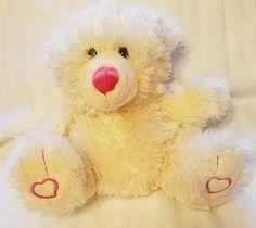 CALTOY Plush Bear Soft Cream Color Pink Hearts on Feet #CALTOY