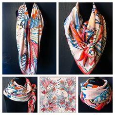 °★ ☽ FORGET ME NOT ☾ ★ °  'tropicalia' silk crepe de chine scarf at www.skarfe.com