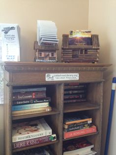 Our Little Free Library at Mountain Lakes Lodge. Guests can borrow games, magazines and DVDs, too.