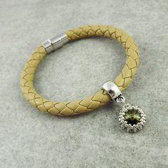 Charm Bracelets – Magnetic Leather Cord Bracelet - Beige – a unique product by TarragonArt on DaWanda