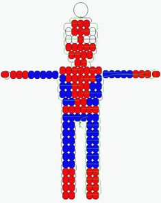 Spiderman bead critter   http://www.beadiecritters.com/patternpages/beadspiderman.htm