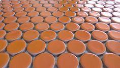 Penny tile for bathroom tile and kitchen backsplash tile ModDotz orange Sherbet