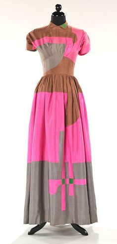 Fabulous!  Love the color blocking! 1948 Cubist dinner dress by Adrian | Coletterie Women's vintage clothing for spring summer