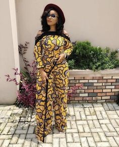 A new styluses of jumpsuit - Wraparound Jumpsuit African Maxi Dresses, African Fashion Ankara, African Print Fashion, Africa Fashion, African Attire, African Wear, African Print Pants, Nigerian Dress, Lace Evening Gowns