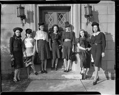 Debs About Town members, posed on step outside of the University of Pittsburgh's Falk School , 1941 via Teenie Harris, Photographer: An American Story at Pittsburgh's Carnegie Museum of Art.