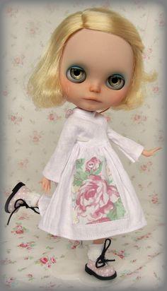 Lovely Pink Vintage Linen Dress for Blythe with Floral Pocket. $33.00, via Etsy.