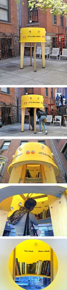 littttle The Little Free Library : remettre les livres dans la rue !You can find Little free libraries and more on our website.littttle The Little. Space Architecture, Architecture Student, Urban Furniture, Street Furniture, Design D'espace Public, Little Free Libraries, Free Library, Urban Intervention, Landscape Elements