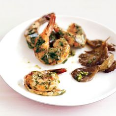 Roasted Shrimp and Mushrooms with Ginger and Green Onions Recipe | Epicurious.com #myplate #protein
