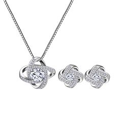 Bridal Jewelry Set for Women - Crystal Cubic Zirconia Love Knot Necklace Stud Earrings Elegant CZ Jewelry Set for Wedding Bride Bridesmaids Gift Set -- You can find out more details at the link of the image. (As an Amazon Associate I earn from qualifying purchases)