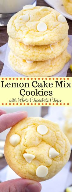 Lemon Cake Mix Cookies with White Chocolate Chips   Posted By: DebbieNet.com