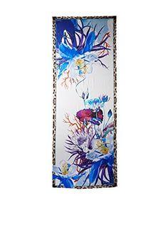 Roberto Cavalli Women's Leopard Floral Silk Scarf, Blue/Purple/Tan/Black