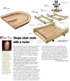 Chair Seat Scooping Jig - Woodworking Tips and Techniques - Woodwork, Woodworking, Woodworking Plans, Woodworking Projects Woodworking Workshop, Easy Woodworking Projects, Woodworking Jigs, Woodworking Furniture, Plywood Projects, Carpentry Tools, Wood Jig, Router Jig, Got Wood