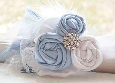 Rosette Headband -Baby Blue and White  $24.99