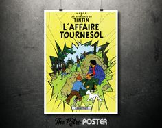 1964 - Le Aventures De TinTin - L'Affaire Tournesol - Hergé // High Quality Fine Art Reproduction Giclée Print by TheRetroPoster on Etsy
