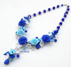 #Blue #Necklace Flower Necklace Statement Necklace by insoujewelry