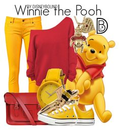 """Winnie the Pooh"" by leslieakay ❤ liked on Polyvore featuring Ksubi, The Cambridge Satchel Company, Toy Watch, Alison Lou, Converse and Disney"
