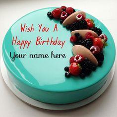 Write Name On Happy Birthday Cake With Fruit Toppings Birthday Cake For Brother, Mother Birthday Cake, Birthday Cake Write Name, Heart Birthday Cake, Birthday Cake Greetings, Happy Birthday Wishes Cake, Birthday Cake Writing, Blue Birthday Cakes, Creative Birthday Cakes