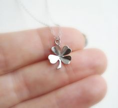 Clover Necklace In Silver, Lucky Charm, Irish Luck, Shamrock Necklace St. Patrick's Day, Everyday Jewelry, Modern, Minimalist on Etsy, $20.00