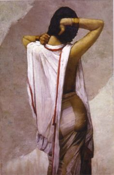 After Bath; painting by M N Roy - modern Indian art, Salar Jung museum, Hyderabad, India (Feb 2012)