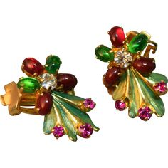 RARE Christian Dior 1966 Germany Enamel and 'Jeweled' Cabachon Earrings!!