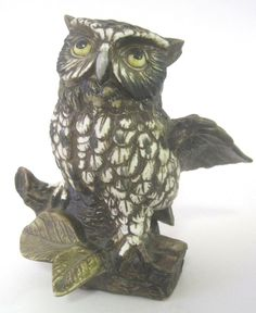 Vintage Owl Figurine HOMCO No.1114 Bisque w Wings Spread Brown White Speckled  #birds #knickknacks