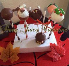 Custom Thanksgiving cake pops. Turkey leg, mash potatoes and gravy, peas and carrots, turkey with stuffing, and pilgrim's hat.