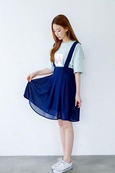 Chiffon Suspenders Skirt | Korean Fashion