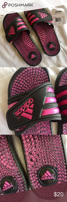 Adidas NWT Pink and Black Slides Sandals These are pink and black Adidas slides sandals. New with tags! Size 6 adidas Shoes Sandals