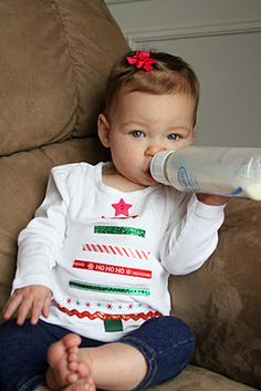 this is cute...easy to make all the girls have matching homemade christmas shirts:))