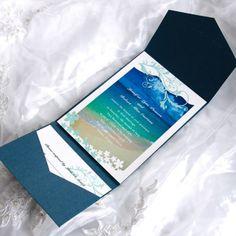 less than $3 Blue beach cards with cheap blue pockets wedding invitation kits EWPI002 |