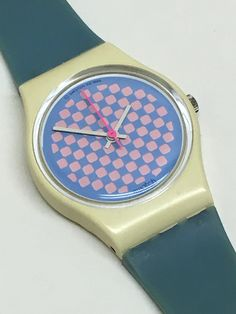 Vintage Ladies Swatch Watch Raspberry Shortcake LW113 1987 Pink Baby Blue Checkered Mothers Day by ThatIsSoFunny on Etsy