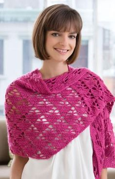 The perfect combination of pretty pattern stitch and vibrant colour. Crochet it to wear any season of the year! Crochet Prayer Shawls, Crochet Shawls And Wraps, Crochet Scarves, Crochet Clothes, Red Heart Crochet Patterns, Free Crochet, Knit Crochet, Prayer Shawl Patterns, Crochet Capas