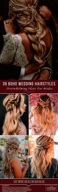 36 Overwhelming Boho Wedding Hairstyles Here you will find a plethora of boho wedding hairstyles for any tastes starting with elegant braided updos and ending with some creative solutions. See more: